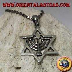 Pendentif étoile de David en argent avec Menorah et étoile à l'intérieur