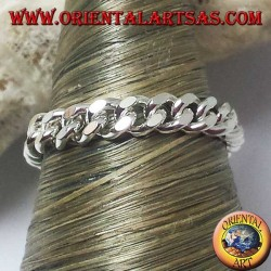 Silver ring, small soft curb chain