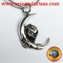 Ciomdolo teschio sulla luna in argento