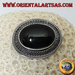 Handmade silver brooch with large oval onyx