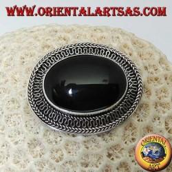 Spilla in argento fatta a mano con onice ovale grande