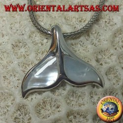 Silver whale tail pendant with mother of pearl (large)