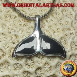 Silver pendant in the shape of a whale tail with onyx (large)