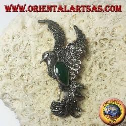 Silberbrosche des Phönix mit grünem Achat und Markasiten