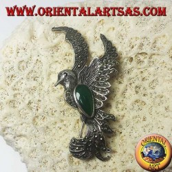 Silver brooch of the phoenix with green agate and marcasites