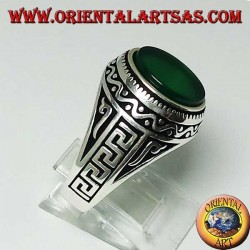 Silver ring with flat oval green agate with Greek on the sides of the ring