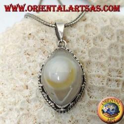 Ciondolo in argento con occhio di Shiva l'agata del terzo occhio