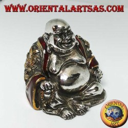 """Sculpture of the smiling Buddha of abundance signed """"Magrino"""" laminated in 925 silver"""