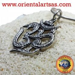 ciondolo om  silaba sacra rintagliato in argento