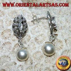 Boucles d'oreilles lobe en argent avec zircon, marcassite et pendentif perle