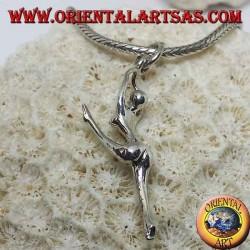 Ciondolo in argento ballerina in spaccata sulle punte