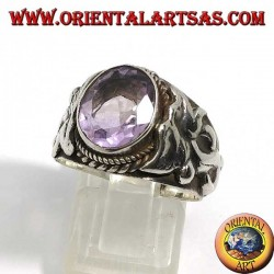 Silver ring with oval natural amethyst with Nepalese dragon on the sides
