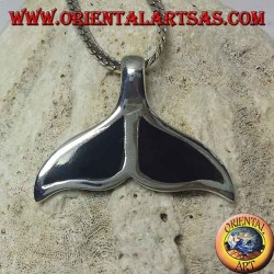 Silver pendant in the shape of a whale tail with flat onyx