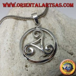 Silver triskell pendant in the Celtic symbol circle (large)