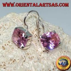 Boucles d'oreilles en argent avec zircon français rose, facettes ovales