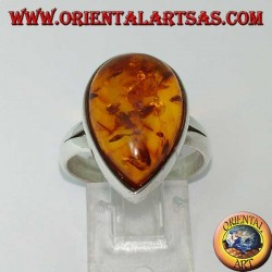 Simple silver ring with drop amber
