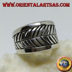 Band silver ring, adjustable leaf grooves