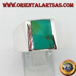 (25) خاتم فضة بسيط مع الفيروز الطبيعي المستطيل