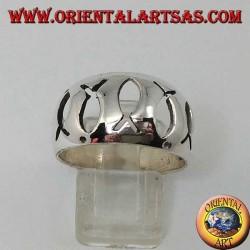 Anello in argento bombato con Ichthys (simbolo della cristianità) traforati