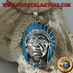Silver pendant, native Indian head with turquoise headdress