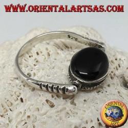 Anello in argento girevole doppio uso con onice ovale o scarabeo