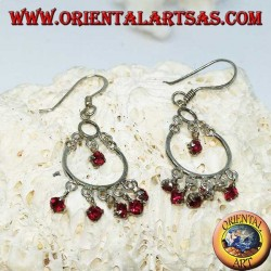 Silver earrings with 5 + 1 small red zircons