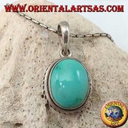 Pendentif en argent avec turquoise naturelle ovale et bordure tressée