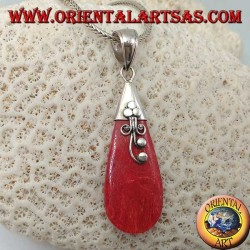 Teardrop red (coral) drop pendant with silver flower