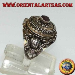 Silver poison ring with garnet