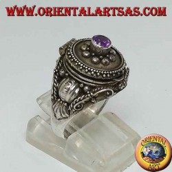 Silver poison ring with amethyst