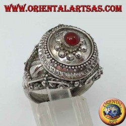 Silver poison ring with carnelian