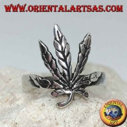 Silver ring with carved marijuana leaf