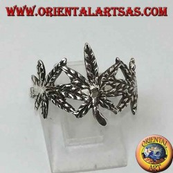Silver ring with 3 carved marijuana leaves