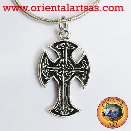 Irish Celtic cross pendant in silver