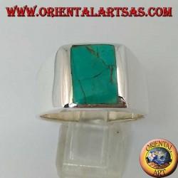 Простое серебряное кольцо с натуральной прямоугольной бирюзой (28)