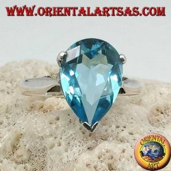 Silver ring with drop-shaped blue topaz with claw setting