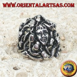 Silver medusa head ring with snakes