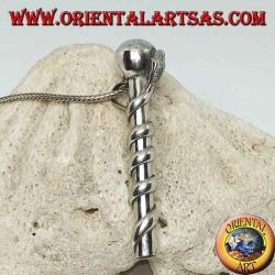 Ciondolo in argento cannuccia pippotto avvolta da un cobra
