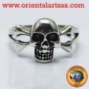 Anello teschio con osse in argento