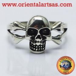ring skull with bones silver