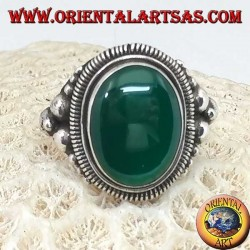 Silver ring with a large cabochon oval green agate