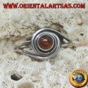 Silver ring with round natural amber wrapped in a silver thread
