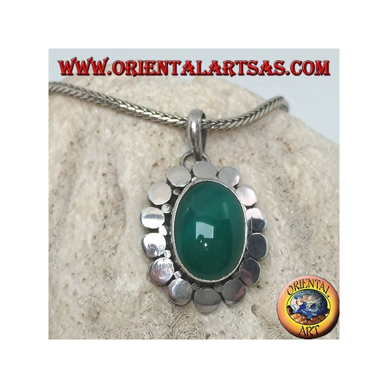 Silver pendant with an oval green agate surrounded by studs