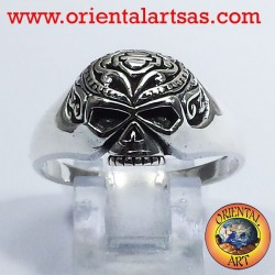 Skull ring tattooed silver
