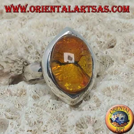Shuttle silver ring with oval amber
