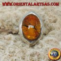Shuttle silver pendant with oval amber