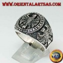 Silver ring with federal bas-relief eagles