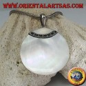 Pendant with round mother of pearl and decorated silver hook
