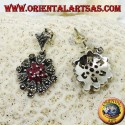 Silver earrings with 1 + 6 round natural rubies set surrounded by marcasite