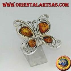 Bague en argent en forme de papillon avec 4 gouttes d'ambre